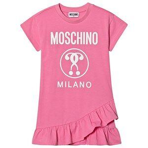 Moschino Kid-Teen Logo Frill Hem Dress Pink 10 years