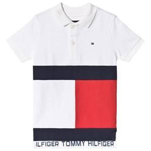 Tommy Hilfiger Large Flag Colour Block Pique Polo White 8 years