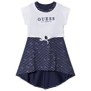 Guess Asymetric Dress Navy and White Stripe 10 years