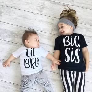 Brother Big Sister & Little Brother Outfit Kids Boys Girls T Shirt Newborn Baby Bodysuit Jumpsuit Outfit Sibling Matching T-Shirt Outfit