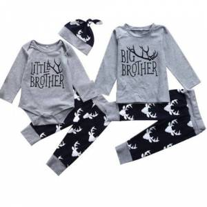 Brother Spring Infant Baby Little Brother Romper Big T-shirt Top Matching Outfits Big T-shirt+Long Pants Clothes Outfit