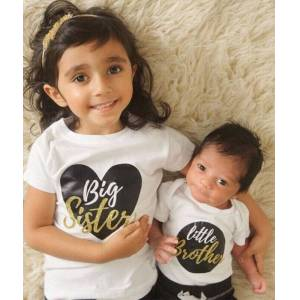Brother Big Sister Little Brother Matching Outfits Baby Boy Bodysuits Girl T shirt Kids Top Tee Clothes Set
