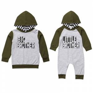 Brother Big/Little Brother Family Match Clothes Long Sleeve Pullover Tops Baby Boys Romper Jumpsuit One Pieces Outfits Autumn Clothes