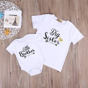 Brother Summer Big Sister Little Brother Family Matching Toddler Kids Baby Boys Little Brother Romper Girls Big Sister Tshirt