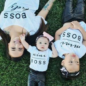 Boss 2016 HOT Fashion MINI BOSS Matching T-shirts Mother Daughter Son Parent Child Tops Tee Shirts