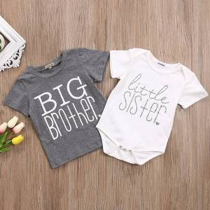 Brother Big Brother Little Sister Kid Boys Baby Girls Cotton Tops T-shirt/Romper Clothes Match Outfit