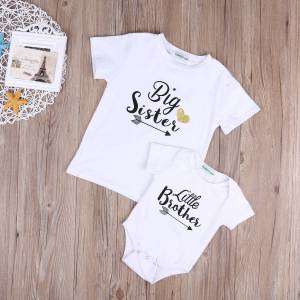 Brother Pudcoco Children Clothing Little Brother Bodysuit and Big Sister T shirt Matchables Summer Outfits