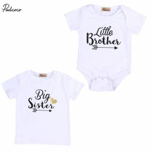 Brother Family Brother Sister Matching Clothing Toddler Kids Baby Boys Bro Bodysuit Girls Sister T-shirt Tops Outfits Clothing
