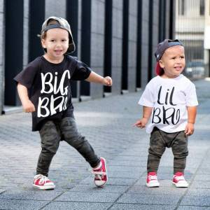 Brother Big Brother Little Brother T Shirt Sibling Short Sleeve Tees Clothes Kids Baby Boys Letter Printed Fashion Brothers T-shirt Tops