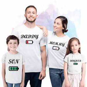 Brother Daddy Mommy Brother Sister Battery White Family Matching Tshirt Children and Parents Family Look Matching Outfits Party Wear