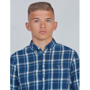 Gant , D1. FLANNEL INDIGO CHECK SHIRT, Blå, Skjorter för Gutt, 170 cm