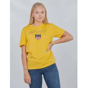Gant , SHIELD LOGO T-SHIRT, Gul, T-shirt/Singlet för Jente, 170 cm