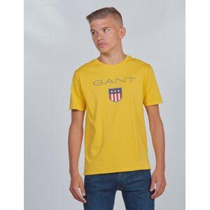 Gant , SHIELD LOGO T-SHIRT, Gul, T-shirt/Singlet för Gutt, 176 cm