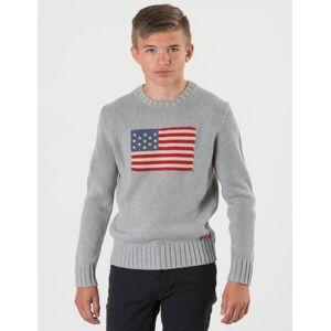 Ralph Lauren, FLAG CREW NECK SWEATER, Grå, Gensere/Cardigans för Gutt, S S Grå