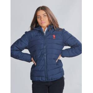 US Polo, Lightweight Puffa Jacket Hooded, Blå, Jakker/Fleece för Jente, 8-9 år 8-9 år Blå