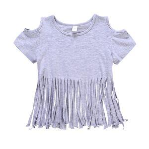c441411563eb3c Newchic Grey Tassel Bottom Design Infant Toddler Girls Off Shoulder Tops