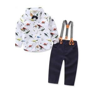 Newchic Dinosaur Print Toddlers Boys Clothes Set Shirt + Suspender Pants For 6-36M