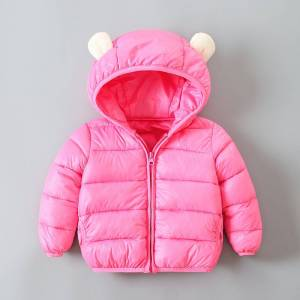 Newchic Cute Ears Girls Downs Parkas Boys Solid Color Winter Coat For 1Y-9Y