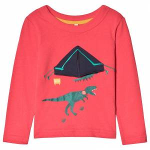 Joules Red Chomp Dinosaur Tent Applique Long Sleeve Top 6 years