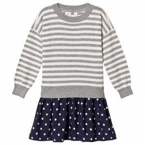 Gap Kjole i grå/marineblå med stripper og prikker L (10-11 år)