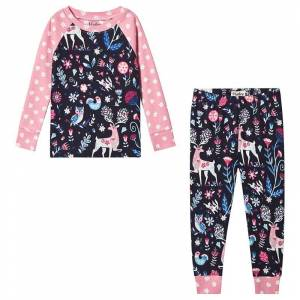 Hatley Navy and Pink Nordic Forest Organic Pyjama Set 4 years