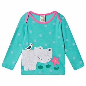 Frugi Turquoise Organic Hippo Applique Top 2-3 years
