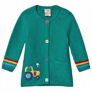 Frugi Green Organic Knitted Cardigan with Tractor Embroidery 3-4 years