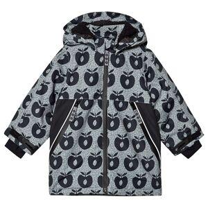 Småfolk Black Apple Print Fleece Lined Winter Coat 3-4 år