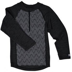 Mikk-Line, WOOL Jacquard Pullover w/zip, Lancaster grey melange