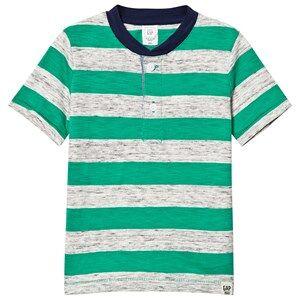 GAP Rugby Stripe Slub Henley Deluxe Green 5 r
