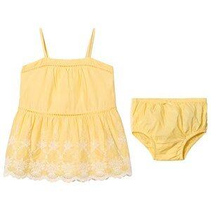 GAP Havana Yellow Floral Eyelet Spaghetti Dress 2 r
