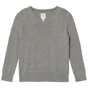 GAP Uniform V-Neck Sweater Grey Heather L (9-10 r)