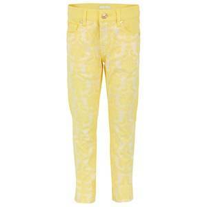 7 For All Mankind Yellow Brocade Skinny Jeans 14 years