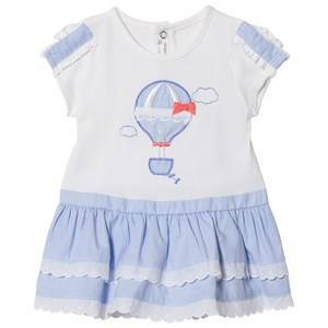Mayoral Hot Air Balloon Applique Dress Blue and White 4-6 months