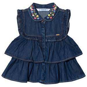 Mayoral Denim Frill Embroidered Blouse 7 years