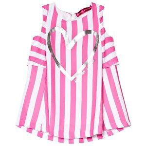 Agatha Ruiz de la Prada Pink and White Heart Print Striped Dress 12 years