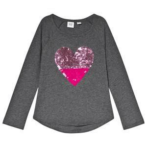 GAP Heather Grey Sequin Heart Raglan Top M (8 r)