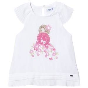 Mayoral White Girl and Diamante Print Loose Blouse 9 years