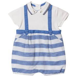 Mayoral Blue Stripe Overalls Effect Collared Romper 4-6 months