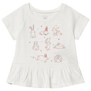 GAP White Bunny Print Peplum T-Shirt 5 r