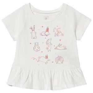 GAP White Bunny Print Peplum T-Shirt 4 r