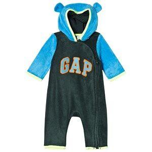 GAP Campus Green Bear Hood Romper 12-18 mnd
