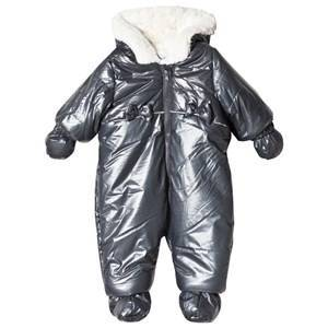 Absorba Navy Bow Detail Shimmer Faux Fur Lined Snowsuit with Booties and Mittens 12 months