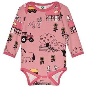 Smfolk Pink Farm Print Baby Body 74cm (9 months)