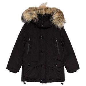 Diadora Black Technical Faux Fur Hooded Parka XXS (4 years)