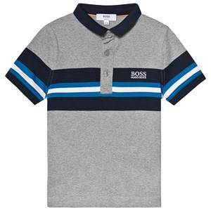BOSS Grey and Navy Striped Polo 14 years