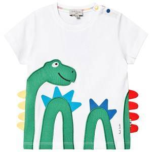 Paul Smith Junior White Dinosaur Applique and Scales Tee 2 years