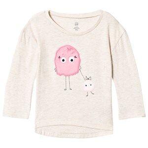 GAP Cream & Pink Little Monster Tee 4 r