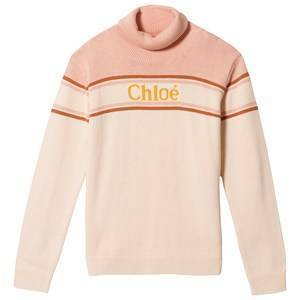 Chlo Logo Roll Neck Sweater Pink 4 years