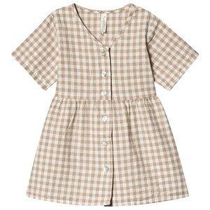 Rylee + Cru Gingham Jeanette Dress Grey/Ivory 4-5 r